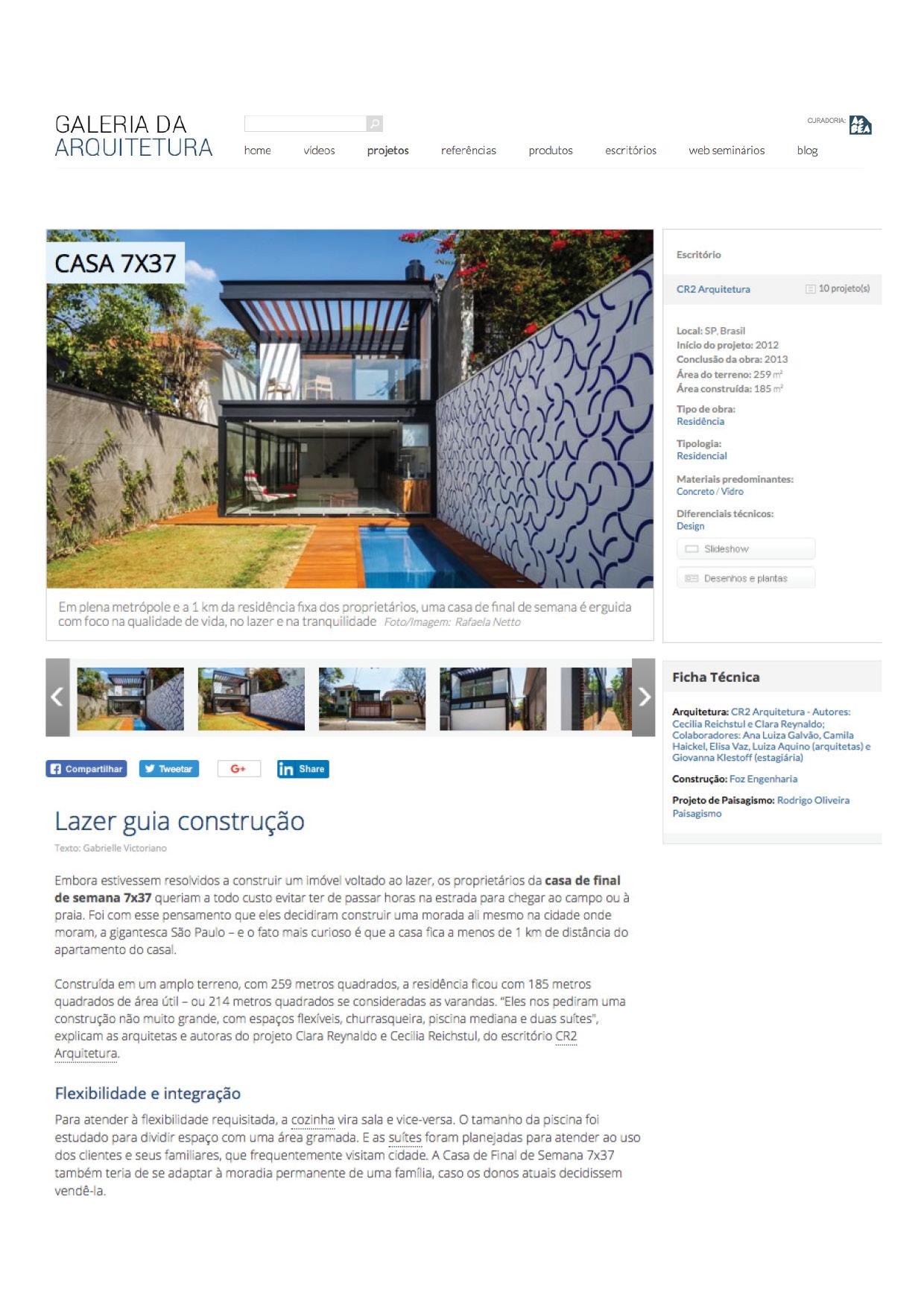 Galeria da Arquitetura | Casa 7x37 - março 2018
