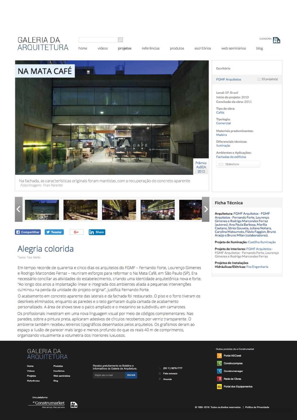Galeria da Arquitetura | Na Mata - março 2018